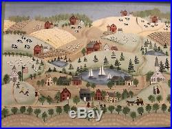 Original Primitive Folk Art Painting Rural Community In Style Of Bayer/Moses