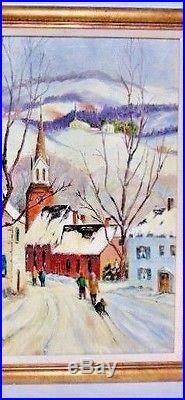 Original Signed Folk Art MARY SCHULTZ Winter Town Scene Kids, Sleds-NICE FRAME