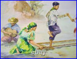 Original Watercolor Painting by Oscar T Navarro of a Philippine Folk Dance