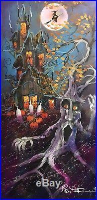 Original halloween painting folk art witch tree pumpkin spooky modern leaves
