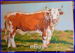 Original large acrylic impression folk art painting bull cow farm