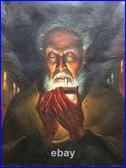 Outsider Folk Art Oil Painting Character Portrait Old Man & Cigarette Vintage