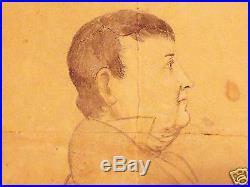 PA dutch folk art paper protrait Peter Stuck painting | Folk