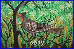 PIERRE JOSEPH VALCIN-Haitian Artist-Original Signed Acrylic-Birds and Trees