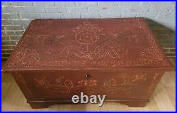 Painted Folk Art Large Blanket Chest Antique Primitive Wood 1816 Can Ship
