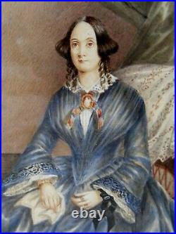Pair Antique Folk Art Portraits, Husband & Wife 1851