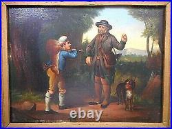Pair of 19th Century Small Folk Art Hunting Scenes, Oil on Tin