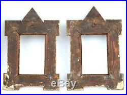 Pair of Tramp Art Folk Art Picture Frames Hand Crafted Wood Frame circa 1900