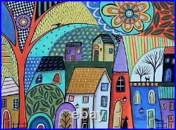 Pastiche Landscape 12 x 16 ORIGINAL CANVAS PAINTING Folk ART PRIM Karla Gerard