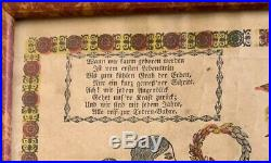 Penna. Folk Art 19th c. German Birth Record Fraktur d. 1843 hand painted frame