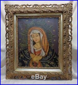 Peruvian Cusco Folk Art Madonna Portrait Oil Painting in Antique Ornate Wood FRM