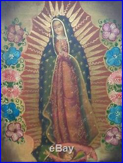 Peruvian Cusco Folk Art Painting Virgin Guadalupe in Antique Style Ornate Frame