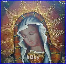 Peruvian Cusco Folk Art Religious Painting Virgin Portrait in Antique Wooden FR