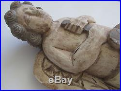 Philippines Folk Art Wood Hand Carved & Painted Pastel Angel 17