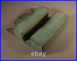 Pine Double Wall Candle Box in Grungy Old Robin's Egg Blue Paint Folk Art