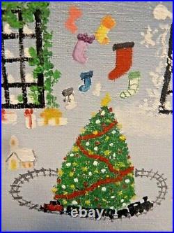 Primative or Folk Art Original Painting Molbak's Christmas Garden Center