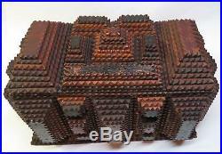 Primitive 1880s Tramp Art BOX Cuba Cigars Chip Carved FOLK ART w RED BLACK PAINT