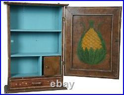 Primitive Antique Folk Art Painted Pine Hanging Medicine Cabinet Cupboard Shelf
