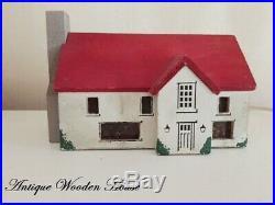 Primitive Antique Little Wood Folk Art Cottage House Original Old Paint aafa