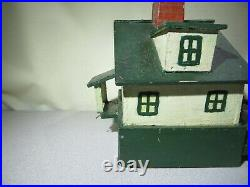 Primitive Antique Little Wood Folk Art Cottage House With Original Old Paint