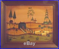 Primitive Country Farm Folk Art signed S. Upton Oil on Masonite painting Framed