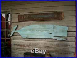 Primitive Folk Art Whale Weathervane Original Blue Paint 1800s Wood Nautical