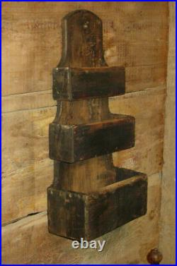 Primitive Triple Wall Box or Candle Box in Old Black Paint Folk Art