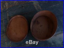Primitive antique finger oval pantry box original pa dutch paint folk art aafa