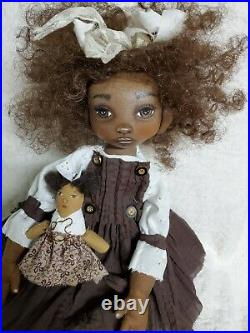 Primitive folk art black painted cloth doll/dollie/OOAK JOSIE 16