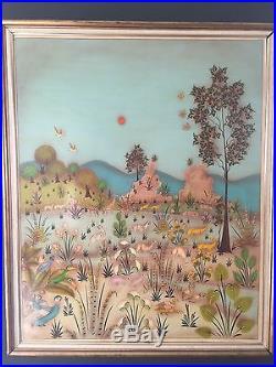 Primitive folk art oil painting Noah by Arturo Alcala