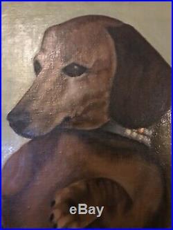 Quirky Vintage Mid-century Large Dachshund Weiner Dog Painting American Folk Art