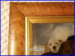 RARE 1870's FOLK ART O/C PAINTING 3 SPORTING DOGS FIELD SPANIEL LABRADOR RETREVR