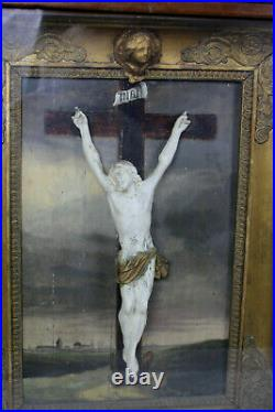 RARE German folk art Religious relief crucifix oil painting framed angel