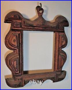 RARE antique TRAMP ART folk art curvilinear design picture frame UNUSUAL folky