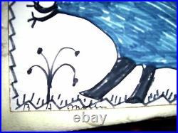 RA Miller FOLK ART DINOSAUR Signed painting Outsider #12