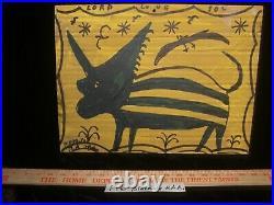 RA Miller Outsider FOLK ART Animal Signed painting #FF6
