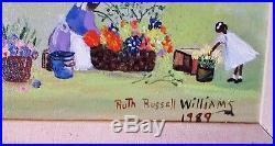 RUTH RUSSELL WILLIAMS ORIGINAL Painting AFRICAN AMERICAN FOLK ART FLOWER SELLERS
