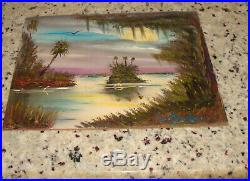 R A Beaudoin Florida Highwaymen Painting Everglades Beach River Bird Folk Art