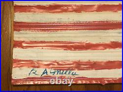 R. A. Miller Painted Metal Flag Outsider Folk Art Corrugated tin