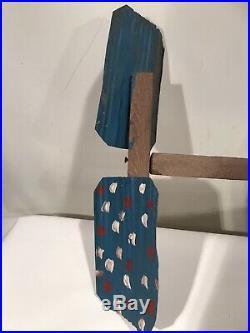 R. A. Miller Painted Metal & Wood Whirligig c. 1990 Folk Art Signed 32x21