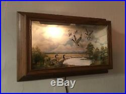 R G Rodell DIORAMA Hand Carved & Painted Canadian Geese, Shadowbox Folk Art Vtg