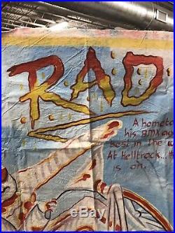 Rad! BMX Ghana Mobil Cinema Movie VHS Poster Hand Painted Painting Folk Art Rare