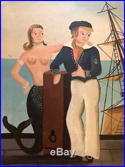 Ralph Cahoon, Folk Art Painting, Sailor and Mermaid