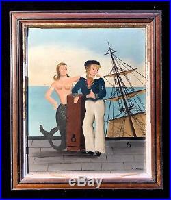 Ralph Cahoon, Mermaid and Sailor, Primitive New England Folk Art