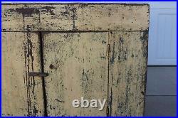 Rare Aafa Antique Folk Art Early 1800 Paint Yellow Blue Primitive Wood Dry Sink