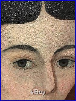 Rare Anerican Antique Folk Art Portrait Paintings From Art Museum In Ohio