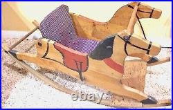 Rare Antique AAFA Early Folk Art Wood Rocking Horse Paint Decorated Crates