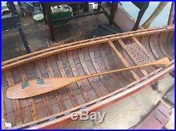 Rare Antique Alpheus Keech Folk Art Mini 21 Canoe Paddle Paint Decorated Flag
