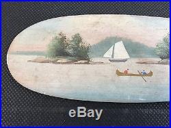 Rare Antique Alpheus Keech Folk Art Mini Canoe Paddle Paint Decorated AAFA