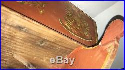 Rare Antique Rocking Cradle Carved Wood Original Old Paint Folk Art